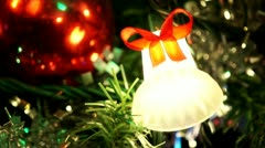 Christmas Tree Closeup Bell Ornament Stock Footage