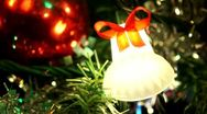 Christmas Tree Closeup Bell Ornament Stock Footage