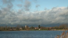 Willen Lake and Stormy Sky Time Lapse, Milton Keynes Stock Footage