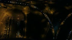 Aerial View of Highway Intersection at Night Stock Footage