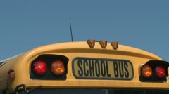 Flashing lights on a school bus Stock Footage