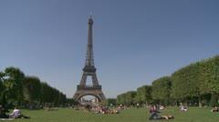 La Tour Eiffel with a blue sky Stock Footage