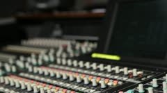 Tilt down audio console to main faders Stock Footage