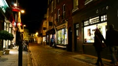 An English street scene at night Stock Footage