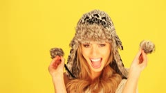 Vivacious Woman In Winter Hat Stock Footage