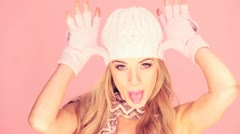 Pretty Woman In Winter Accessories - stock footage