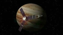 Jupiter probe passes by the planet Jupiter. Stock Footage
