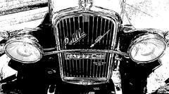 Fiat Radiator B&W pen sketch.jpg - stock photo
