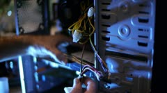 Fixing Computer Innards 04 Stock Footage