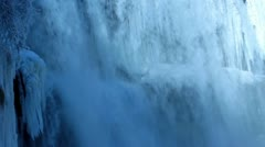 Webster's Falls - Winter ice and fast water Stock Footage