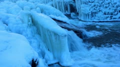 Webster's Falls - Winter ice formations Stock Footage