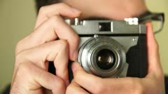 Photographer Shooting With Old Camera Stock Footage