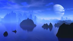 Fantastic planet and the big moon in blue tones Stock Footage