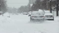 Driving In Snowstorm Stock Footage