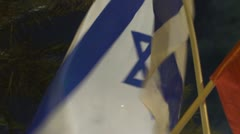 Tel Aviv protest Israeli flag Stock Footage