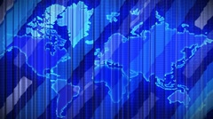 Curtain with world map, Opening and closing 3d animation, HD, mask. Stock Footage