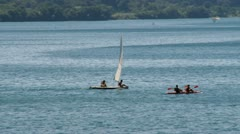 Lake bracciano in Italy with boats Stock Footage
