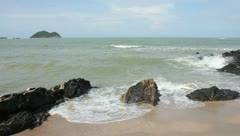 Seas and crashing waves on rocks Stock Footage
