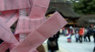 Paper Prayers at Shinto Temple in Japan Stock Footage