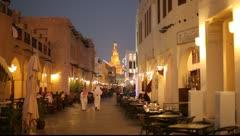 Souq Waqif at night, Doha Qatar Stock Footage