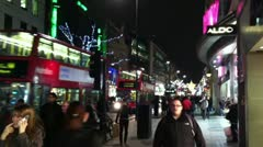 Hurried Christmas Shoppers in London - stock footage