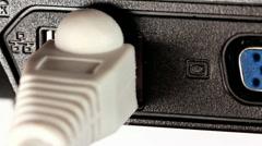 LAN port in laptop Stock Footage