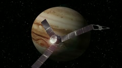 Jupiter probe passes by as it unfolds it's solar powered collectors. - stock footage