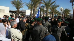 Pilgrims visit baptismal site in the Jordan River Holy Land Israel FULL HD Stock Footage