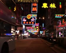 Nathan Road Nightime Traffic, Hong Kong GFSD Stock Footage