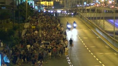 Tel Aviv protest street crowd 3 Stock Footage
