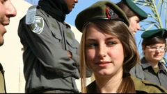 Israeli female soldier, policeman male, female of the Boarder Guard Unit, Stock Footage