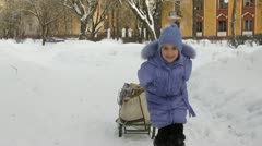 Winter young girls Stock Footage