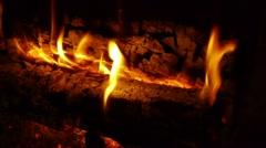 Fire Logs Burning Close Up. Slow Motion - stock footage