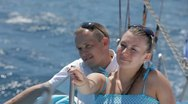 Stock Video Footage of Young couple on a yacht  HD