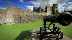 Iconic shot of Castle Walls and Canon, Ireland GFHD - stock footage