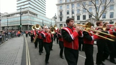 Brass band at London Parade Stock Footage