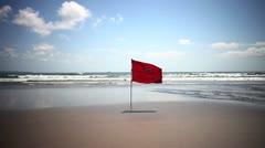 Beach Safty Flag Stock Footage