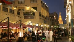 Street in Souq Waqif at night, Doha Qatar - stock footage