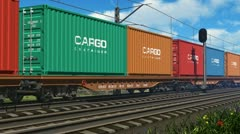 Freight train with cargo containers - stock footage