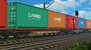 Freight train with cargo containers Stock Footage