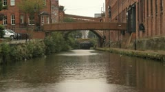 Rain on canal- city setting Stock Footage
