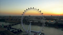 London Eye and Houses of Parliament in London Stock Footage