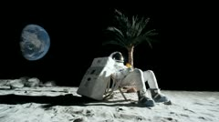 SLO MO, WS, Lockdown, astronaut on moon sitting in a reclining beach chair, Stock Footage