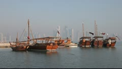 Traditional arabic dhows in Doha, Qatar - stock footage