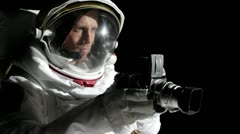 ZO, WS, Shaky of an astronaut using a vintage medium format camera Stock Footage