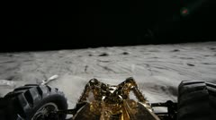 CU, POV of a lunar rover driving on the surface of the moon - stock footage