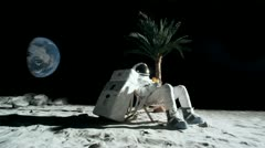 SLO MO, WS, Lockdown of an astronaut on the moon sitting in a reclining beach Stock Footage