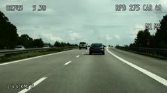 Shaky, WS, POV of kilometers per hour of traffic on an autobahn Stock Footage