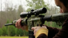 White guy shooting Guns, AR 15  Stock Footage