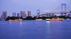 Lighted boats on Tokyo Bay Stock Footage